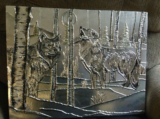 Cómo Los Lobos en metal del arte