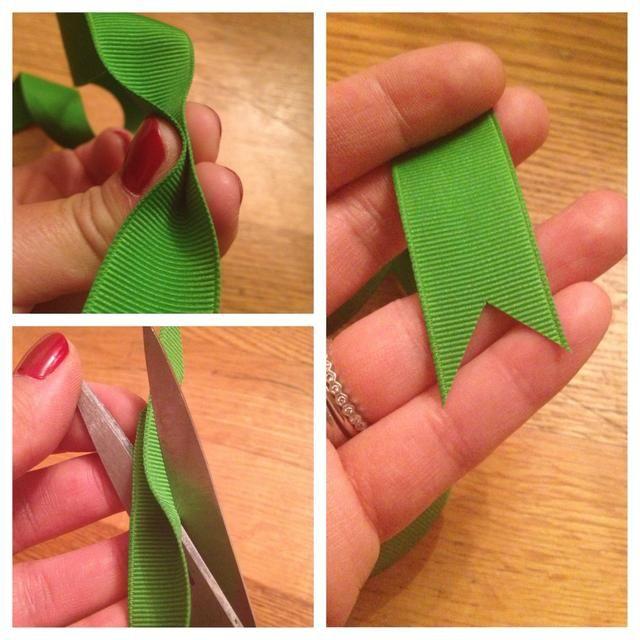 Último consejo: Crear una cola de milano en los extremos de la cinta! Apriete la cinta a lo largo. Colocar la tijera con las cuchillas de tocar la tapa, que apunta hacia el extremo cortado. Snip rápidamente para evitar desgastes ni desgarros.
