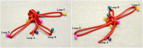 Traiga bucle de A a ir a través de bucle B de la parte delantera. A continuación, pasar el bucle B a través del bucle A de la cara posterior. Fijar los bucles A y B con los mismos pines.