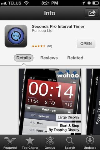 La mejor aplicación de intervalo en la tienda de aplicaciones es segundo profesional. Ustedes son impresionantes, así que se tomó la molestia de crear el temporizador para este entrenamiento. Añadir http://secondsapp.com/timers/1553283 a la aplicación.