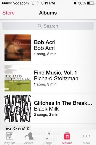 Una vez que su iphone's music app opened you can go to albums and search for your album...