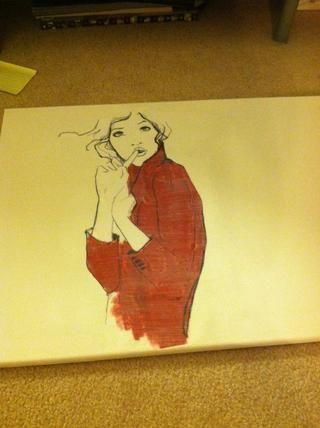 Pintar una fina capa de Mod Podge sobre lienzo y la imagen. Deje secar y pasar el rato y disfrutar!