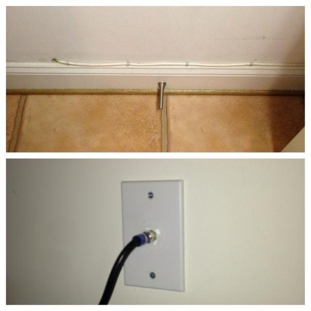 Esto fue mucho más fácil de lo que pensaba. Simplemente perfore un agujero, alimentar el cable a través y fijar la placa coaxial a la pared. Esto fue fácil para mí bc mi terminal del cable se encuentra en la habitación de al lado.