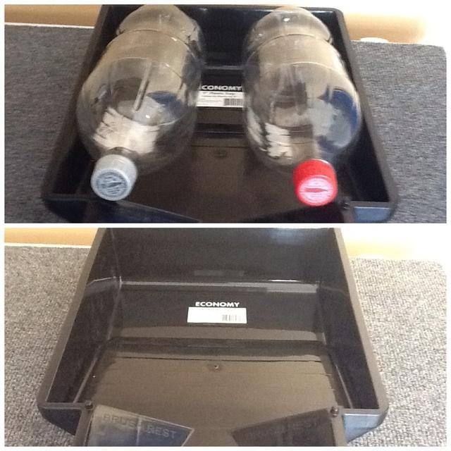 Esta bandeja de pintura plástica negro sostiene fácilmente 2 de dos botellas de un litro. Cuenta con una ligera inclinación y se puede colocar en el sol con las botellas llenas. Agitar las botellas de 20 veces para un poco de aire (sabor) en ella.