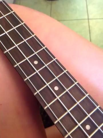 En este paso voy a presentar mi ukelele y las cuerdas.