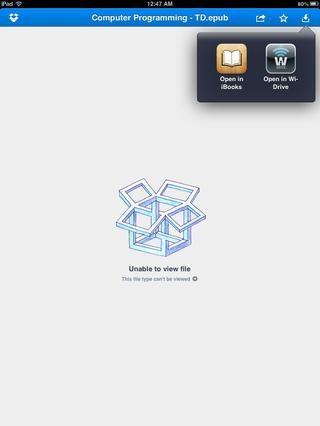 Toque el icono ABIERTO EN (el que se ve como una caja con una flecha hacia abajo en él) Elija ABIERTO EN iBooks