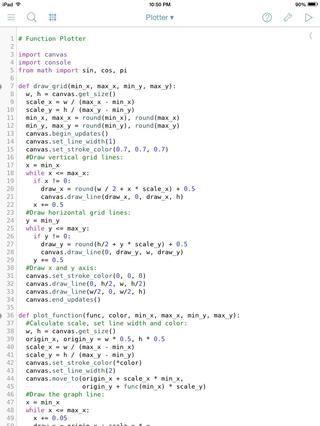Algunos código para un programa de trazado de matemáticas.