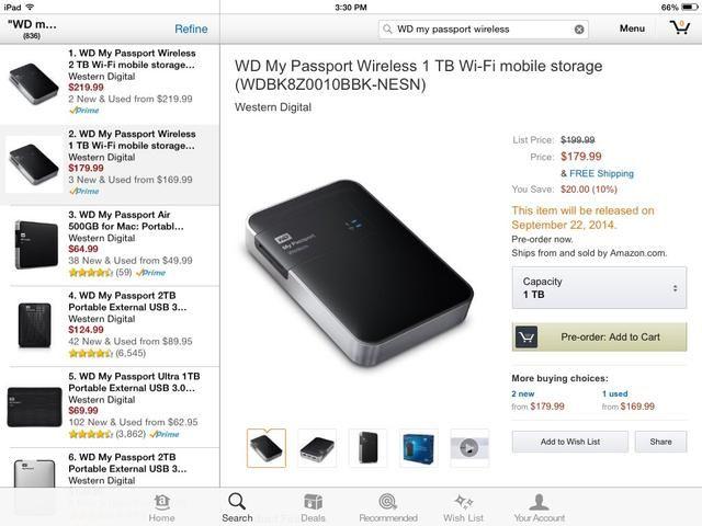 El 22 de septiembre de 2014, Western Digital estarán vendiendo un rive duro más portátil inalámbrico con 1 TB o 2 TB de memoria. Esta podría ser la mejor solución para el almacenamiento.