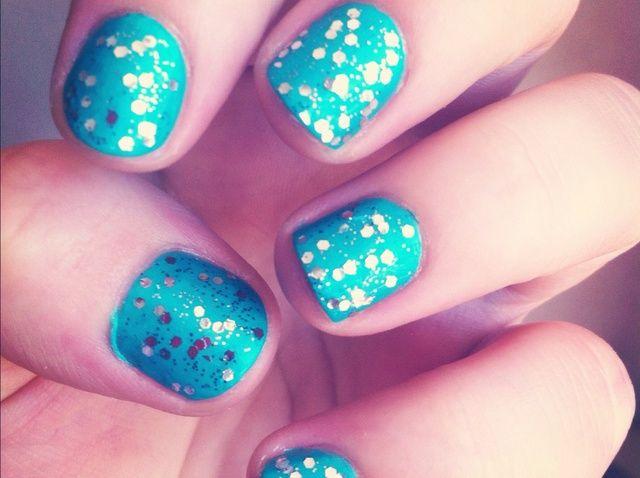 Fotografía - Cómo turquesa y Glitter Nails