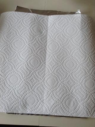 Ponga 2 hojas de toalla de papel sobre una hoja de papel de aluminio