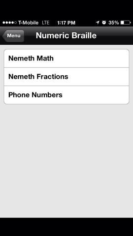 Pulse sobre los números de teléfono para tratar de escribir un número de teléfono en Braille.