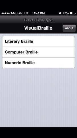 Para empezar, primero toque en Braille literario.