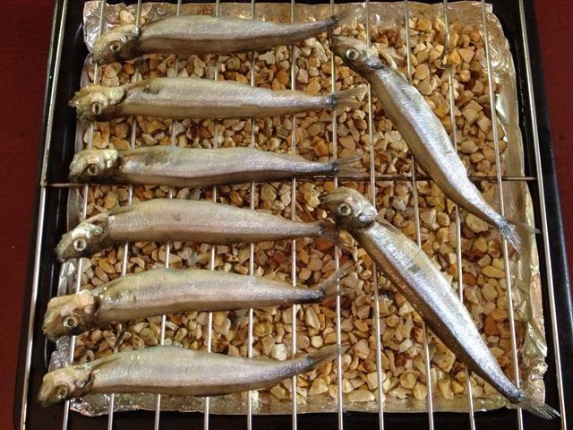Línea marinado peces en una parrilla de alambre que've placed on the