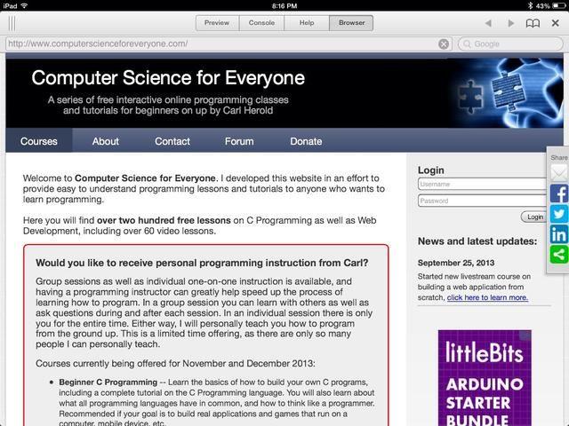 Para obtener más información acerca de Ciencias de la Computación, echa un vistazo a computerscienceforeveryone.com