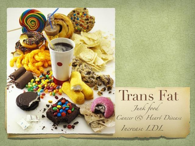 TRANS FAT es el baaaaad FAT! Si tiene grasas trans en ella, es mortal. Cáncer, enfermedades del corazón! Aumenta los niveles de LDL (colesterol malo) y disminuye sus niveles de HDL (colesterol bueno). ¡PELIGRO!