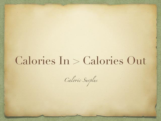 Si la cantidad de calorías que usted come es más que la cantidad de calorías que quema, usted tiene un exceso calórico y usted aumentará de peso. El peso extra se almacena en el cuerpo como grasa o músculo.
