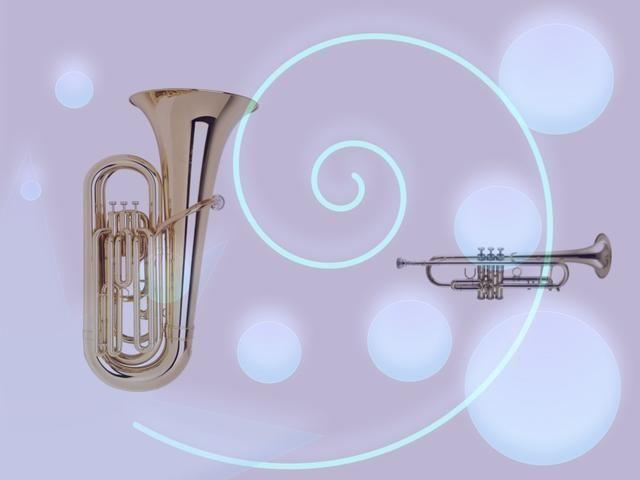 Un TUBA tiene un sonido muy bajo. Una trompeta tiene un sonido de alta. Son los llamados instrumentos de metal. Pueden ser utilizados para crear un ritmo o melodía.