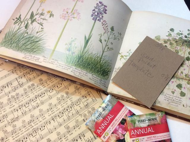 Reúna música ephemera- vendimia hoja, libros de jardinería viejos, papel del libro de recuerdos, etc.