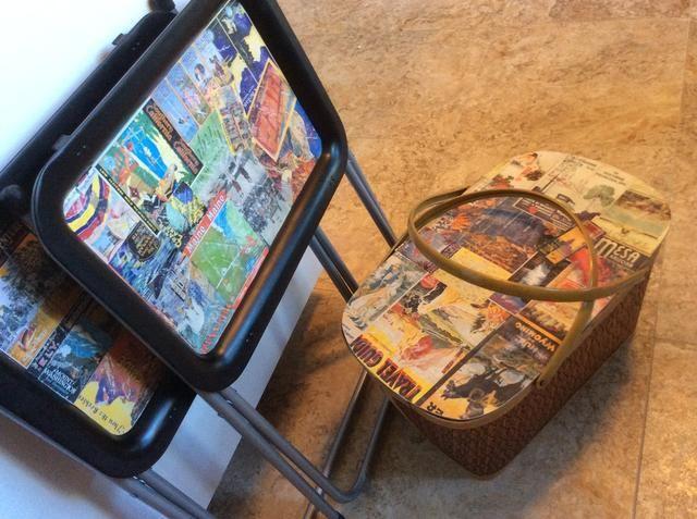 Collage una cesta de picnic vintage también para un gran conjunto glamping!