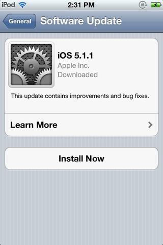 Pulse en Instalar ahora. (Si ha jailbreak su iPhone, actualizaciones OTA pueden no ser posibles sin necesidad de descargar e instalar el software de tercera parte)
