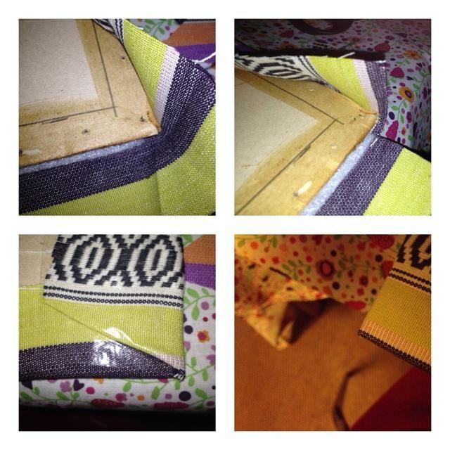 Ahora a la tapicería. Yo reutilizado el cartón del asiento y la espalda. Usé cinta para asegurarlo a la parte trasera. Se trata de cómo hacer las esquinas.