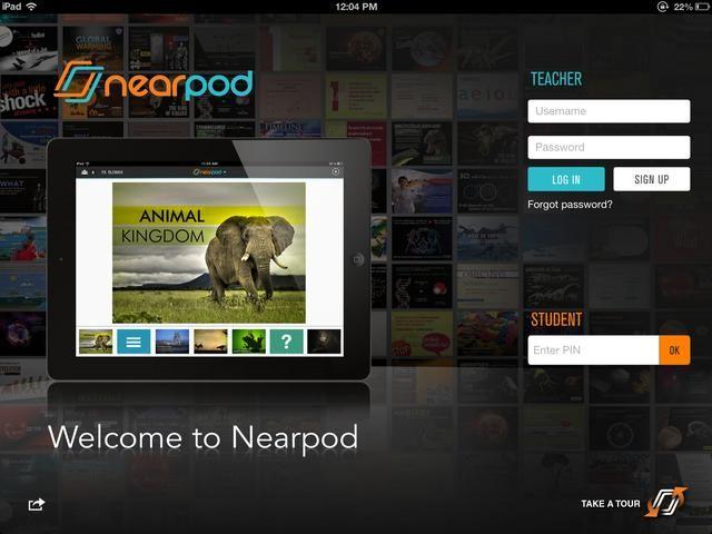 Una vez que la actualización se realiza, abra Nearpod. Esta es la pantalla de bienvenida para los profesores y los estudiantes para seguir disfrutando de todas las posibilidades Nearpod.