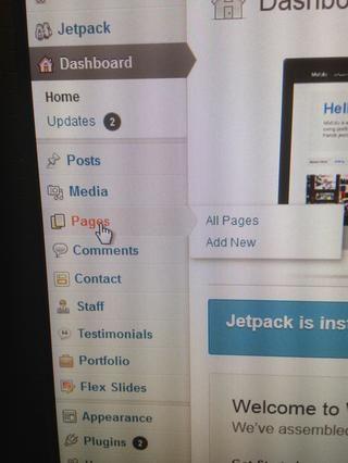 En primer lugar vamos a aprender a añadir páginas / edición. Haga clic en el botón de páginas en el menú.