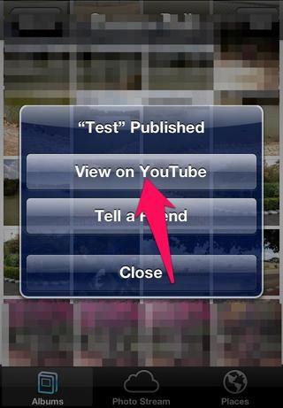 Una vez que el vídeo se publicó haga clic en'View on YouTube' to view it
