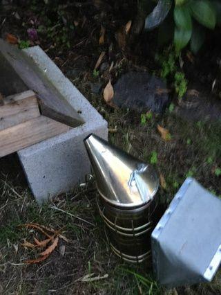 El humo de las abejas de la parte inferior y la parte superior de la colmena, como lo haría para una inspección normal.