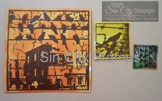 Sello tres imágenes de la Sellos Sin City Urban Grunge placa de estampación sobre papel blanco con tinta negro StazOn. Colorea cada uno con especias Mermelada, semilla de mostaza, y pelado de pintura manchas distsress.