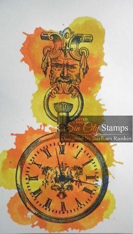 Reloj de bolsillo sello de Sin City Sellos Metal Stamp Madness establecido en cartulina blanca con tinta negro StazOn. Dab Spiced Marmalade y angustia Mustard Seed manchas de más de imagen. Corte la imagen quisquilloso.