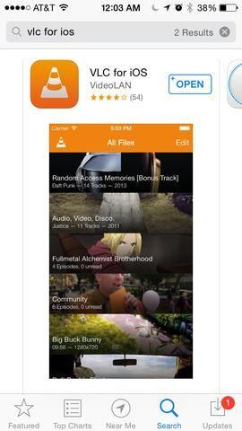 Para reproducir el contenido de vídeo que he instalado una aplicación gratuita llamada VLC para iOS. Esta aplicación es compatible con una amplia gama de codecs de vídeo y audio.