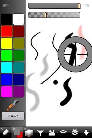 También puede cambiar los colores manteniendo el dedo hacia abajo en el dibujo. Ello'll select the color your holding. Note the color indicator in the bottom matches where my finger is on this image.