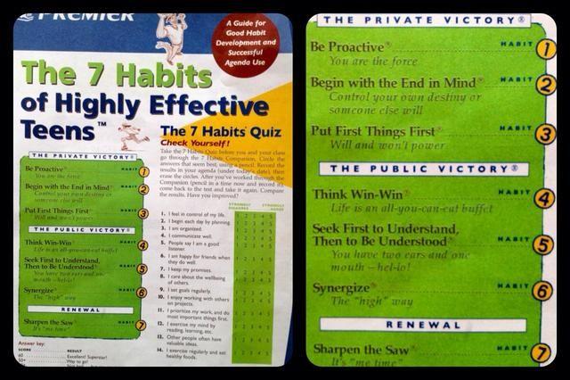 El uso de las piezas de Scrabble Anoté la Escuela's 7 habits.