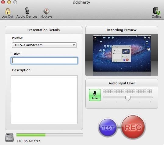 En primer lugar, ejecutar una grabación de la pantalla de prueba utilizando el botón de prueba. A continuación, registrar su captura de pantalla utilizando el botón de grabación.