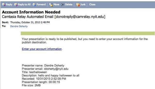 Busque un correo electrónico para agregar su información screencast.com al servidor Camtasia Relay. Esta será la ubicación de los archivos screencast. Se puede acceder a su cuenta screencast.com cualquier momento.