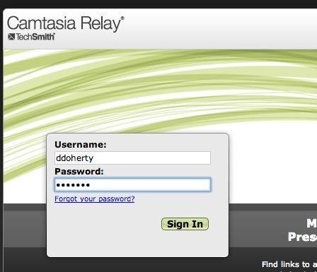 Va a iniciar sesión en su cuenta de relé. Entonces se le suministrará la información screencast.com desaparecidos. Ver la siguiente pantalla.