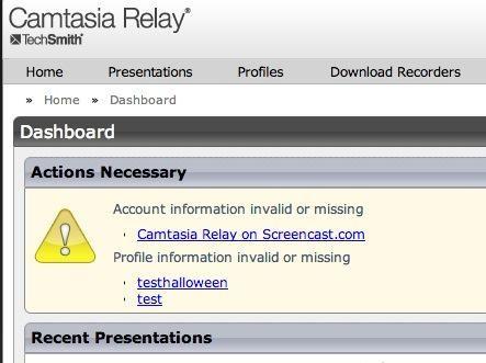 Usted verá que la información de la cuenta screencast es necesario. Rellene esa información. Ver la siguiente pantalla.