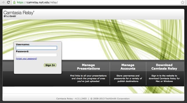 Iniciar sesión en el sitio Camtasia Relay para acceder a sus vínculos screencast.