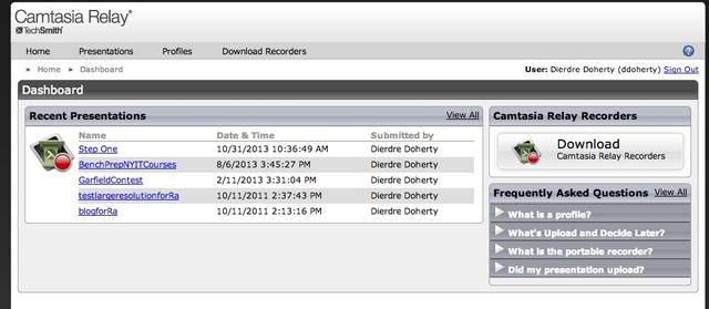 Una vez conectado, este es el panel de control de relé donde se puede ver las presentaciones, ajuste su perfil y acceder a todos los archivos de software descargables. Haga clic en el enlace Descargar Camtasia Relay Grabadores.