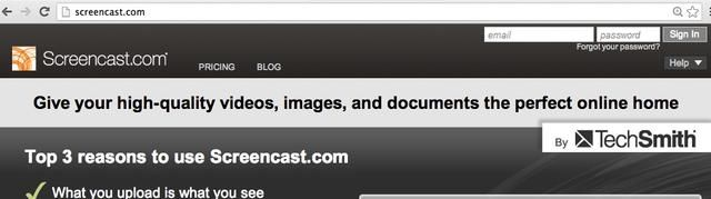 Inicia sesión con tu correo electrónico y contraseña screencast.com para ver todas sus grabaciones Camtasia Relay.