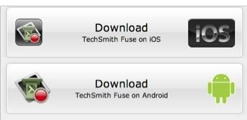 Las descargas de aplicaciones móviles Camtasia Relay están disponibles aquí también. La aplicación se llama fusible.