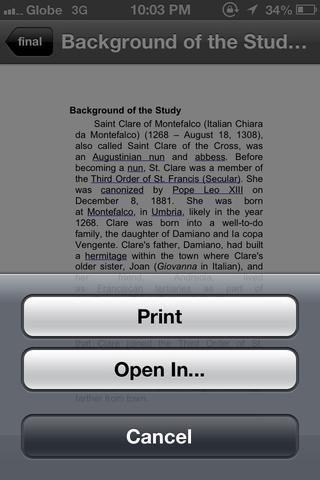 Después de abrir un archivo. hay 3 opciones. la izquierda es para generar el archivo de envío. medio es favorito y protagonizó para verlas sin conexión. el lado derecho es para abrir o impresión.