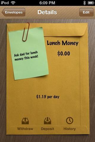 En este momento el sobre está vacío. Toque DEPÓSITO añadir un poco de dinero en el sobre. Utilizará esta mucho.