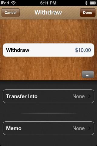 Quiero sacar $ 10. Para añadir una nota memo, toque en la parte inferior.
