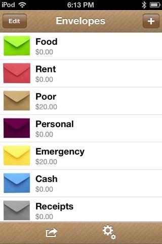 Si desea volver a organizar sus sobres, pulse EDIT en la pantalla principal.