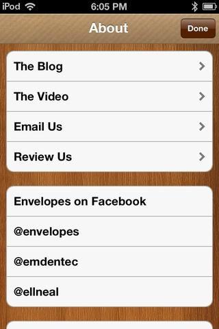 Puedes visitar su blog, ver su comercial, enviarlas por correo electrónico, y revisar la aplicación desde aquí. Pulse Listo para volver a la pantalla principal.