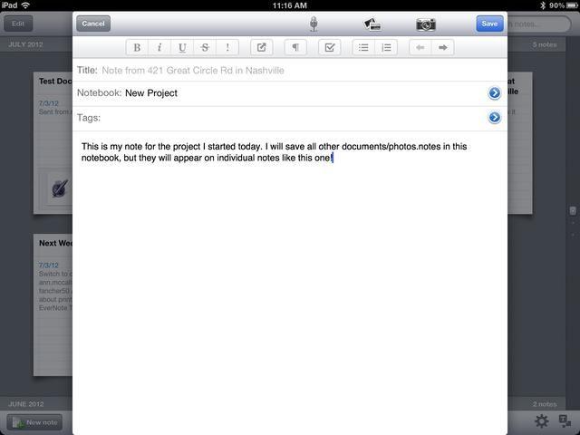 Así es como su nueva nota se verá en una tableta iPad. Cada nueva nota se agrega para su proyecto debe estar dentro de su notebook en Nuevo proyecto.