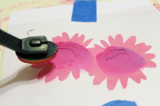 utilizar tintas mezcladas y Stylus y consejos para aplicar la tinta a los centros de flores ...