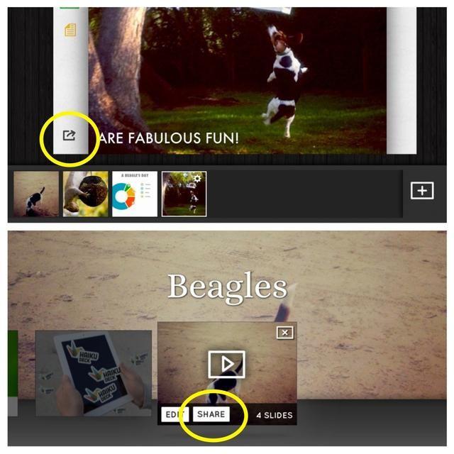 Añadir todas las diapositivas y luego publican utilizando el icono de exportación en su última diapositiva o tocando la cuota de la pantalla de la galería.
